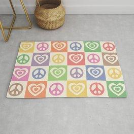 Peace and Love Rainbow Pride Checker  Rug