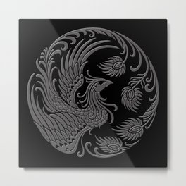 Traditional Gray and Black Chinese Phoenix Circle Metal Print