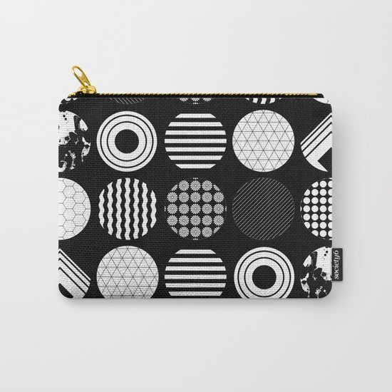 Ecelctic Geometric 2 - Black and white multi patterned design Carry-All Pouch
