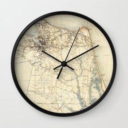 Vintage Map of Norfolk and Virginia Beach (1891) Wall Clock