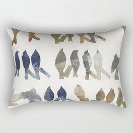 Navy and Ocher Birds Abstract Rectangular Pillow