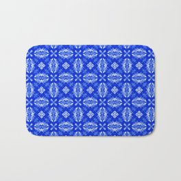 Sapphire Blue Diamond Floral Bath Mat
