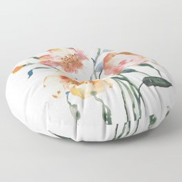 Loose Floral on Yupo Floor Pillow