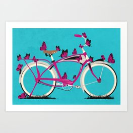 Butterfly Bicycle Art Print