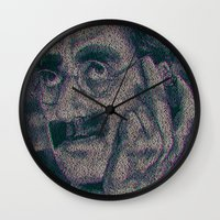 marx Wall Clocks featuring Groucho Marx - Duck Soup Screenplay Print by Robotic Ewe