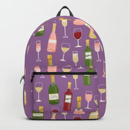 Rose drinks champagne wine bar art food fight apparel and gifts purple Backpack