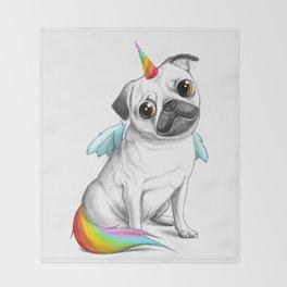 Pug unicorn Throw Blanket
