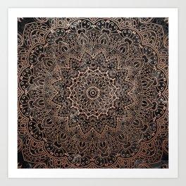 Mandala - rose gold and black marble 3 Art Print