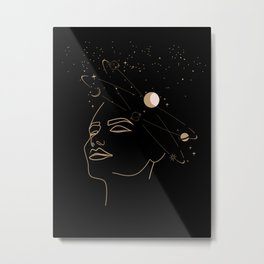 Mystic 94 Mind In Space Golden Line Drawings Minimal Minimalist Outer Space Solar Systems Star Astrology Astronomy Abstract Design Black Bohemian Style Metal Print