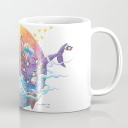 Music maker penguins travel across the colorful sky ocean on a purple whale island Coffee Mug
