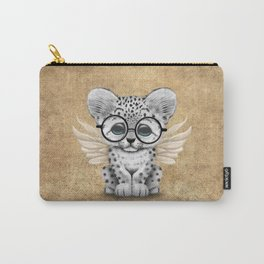 Snow Leopard Cub Fairy Wearing Glasses Carry-All Pouch