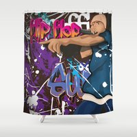 hip hop Shower Curtains featuring Hip Hop Star by nick green