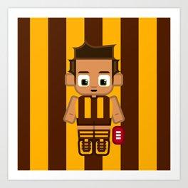 Super cute sports stars - Brown and Gold Aussie Footy Art Print