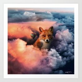 up in the clouds on my way to unknown things. Art Print