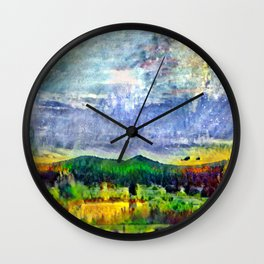 From Sunriver: Mt. Bachelor (Salt Watercolor) Wall Clock