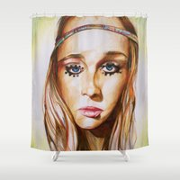 hippie Shower Curtains featuring Hippie Girl by Liz Slome