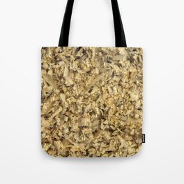 Texture and background from coniferous wood shavings Tote Bag