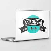 crossfit Laptop & iPad Skins featuring Stronger Every Day (dumbbell) by Lionheart Art