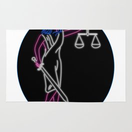 Lady Justice Holding Sword and Balance Oval Neon Sign Rug