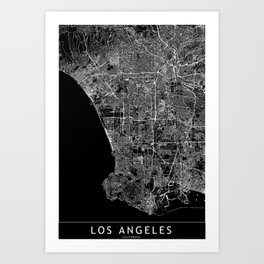 Los Angeles Black Map Art Print