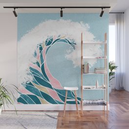 Surf X // Cali Beach Summer Surfing Rip Curl Gold Pink Aqua Abstract Ocean Wave Wall Mural