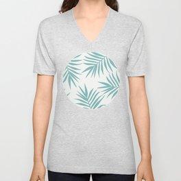 Delicate Green Tropical Leaves Pattern Unisex V-Neck