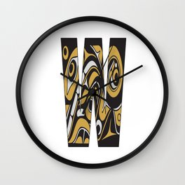 Northwest Pacific Coast American Native Totem Letter W Wall Clock