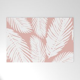 White Tropical Palm Tree Fern Leaf on Rose Gold Pattern Welcome Mat
