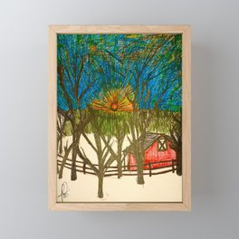 Front yard sunset Framed Mini Art Print