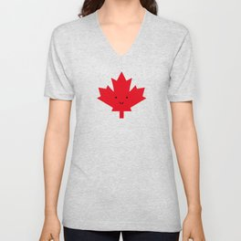 Happy Canada Day Maple Leaf (Red) Unisex V-Neck