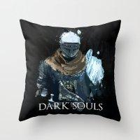 dark souls Throw Pillows featuring Dark Souls Knight Splatter by 666HUGHES