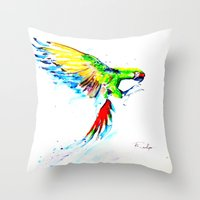 military Throw Pillows featuring Military Macaw by ARealpe