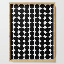 Midcentury Modern Dots Black and White Serving Tray