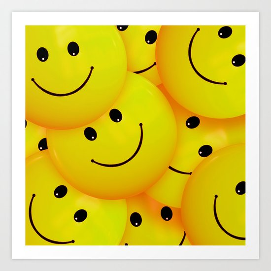 fun cool happy yellow smiley faces art print by marios | society6  society6