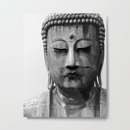 Buddha Statue, Buddha Photograph, Black and White Buddha Print Metal Print