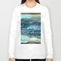 agate Long Sleeve T-shirts featuring Navy Agate by Amie Amyotte