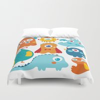 aliens Duvet Covers featuring Aliens and monsters pattern by Maria Jose Da Luz