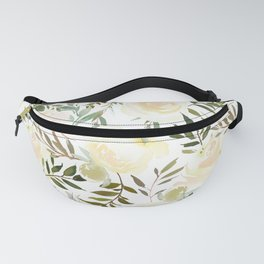 Modern blush yellow pink green watercolor botanical pattern Fanny Pack