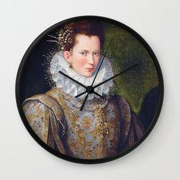 Portrait of Court Lady with Dog by Lavinia Fontana Wall Clock