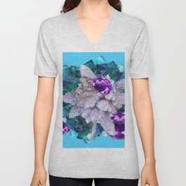 PURPLE AMETHYST  AQUAMARINE QUARTZ CRYSTAL ART Unisex V-Neck