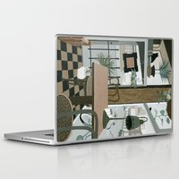 cafe Laptop & iPad Skins featuring View from the Cafe by Yuliya
