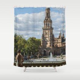Chilling at Plaza de Espada, Seville Shower Curtain