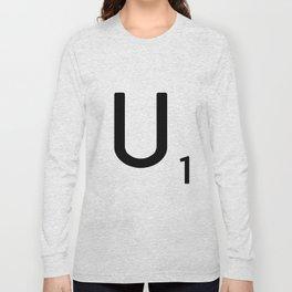 Letter U - Custom Scrabble Letter Tile Art - Scrabble U Initial Long Sleeve T-shirt