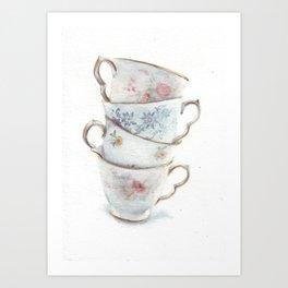 Classic Teacups Stack by Helga McLeod Art Print