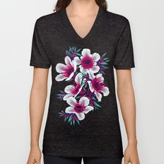 Manuka Floral Print -  Light Unisex V-Neck