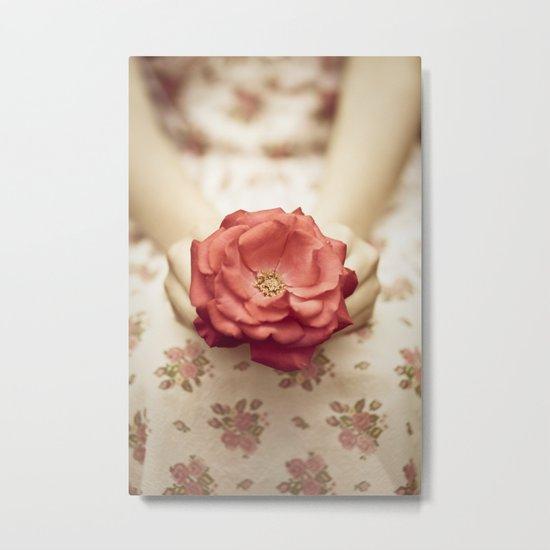 Rose in her hands III Metal Print