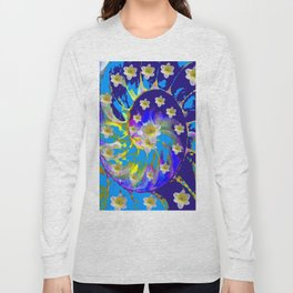 MODERN ART GARDEN BLUE SPIRAL &  DAFFODILS ART Long Sleeve T-shirt