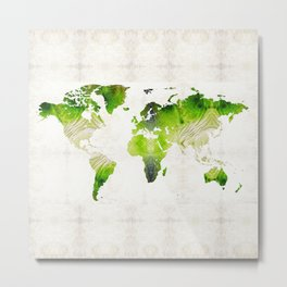 Green World Map Wall Art - Sharon Cummings Metal Print