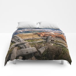 Texas Longhorn Steer with Wood Log Fence in Wyoming Pasture Comforters