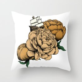 Sailing a Sea of Peonies - Vintage Yellow Throw Pillow